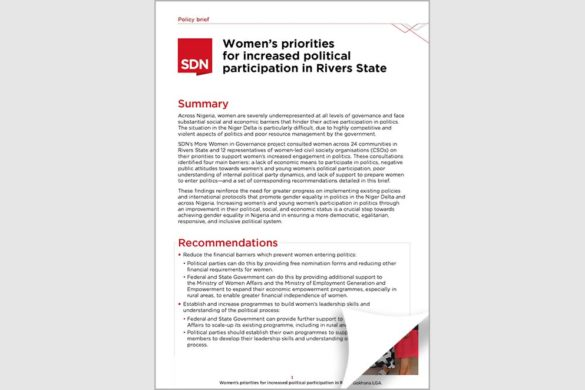 Women's priorities for increased political participation in Rivers State