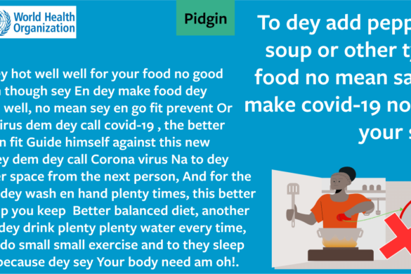 WHO myth-busting Covid19 banners in Nigerian Pidgin